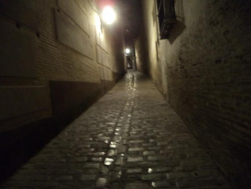 A narrow sloping alleyway again in the old town.