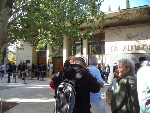 People queueing at the entrance to the Alhambra.