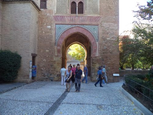 Puerta de Vino (Wine Gate). This horseshoe-shaped gateway arch is thought to be one of the oldest surviving structures at the Alhambra.