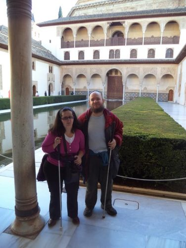 Tony and Tatiana at the Patio de los Arrayanes (Court of the Myrtles). A courtyard with a long pool flanked on each side by a myrtle hedge (hence the name).