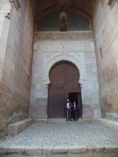 Tatiana and Tony at the other side of the Gate of Justice. A horseshoe-shaped inner arch above the door.