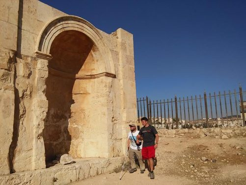 Tony and Brent next to a large alcove built to one side of Hadrian's Arch.
