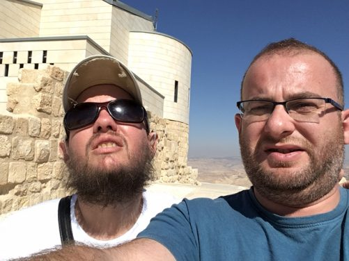Tony with his couch surfing host Ashraf at Mount Nebo.