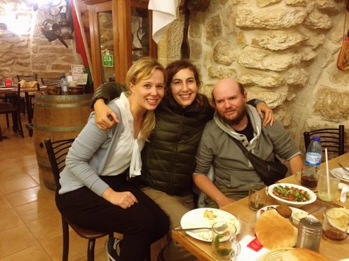 Jo, Almudena and Tony in restaurant in Bethlehem.