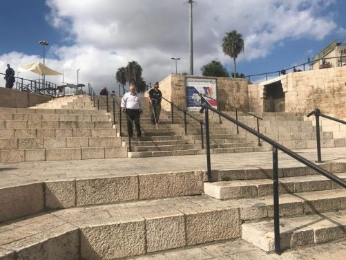 Tony heading down steps at Damascus Gate, one of the northern gates in and out of the old city of Jerusalem.