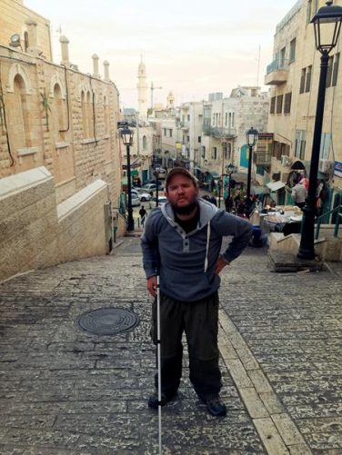 Tony heading up a steep part of Paul VI Street in Bethlehem close to Manger Square.