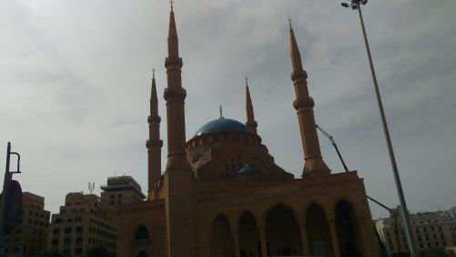 Outside the Mohammed Al Amin Mosque. A huge, striking amber-coloured blue-domed mosque near Martyrs Square, in 'downtown' Beirut.
