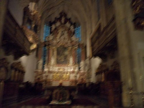 Main altar. Inside Graz Cathedral (Dom St. Ägidius, or St. Giles Cathedral). A Gothic-style Roman-Catholic Cathedral, built between 1438 and 1462 on the order of Friederick III.