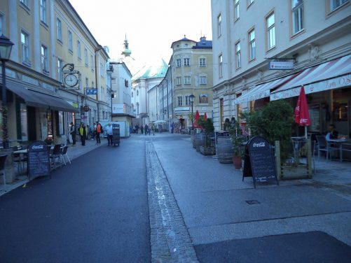 View along Linzergasse, a pedestrian street that runs through Salzburg's