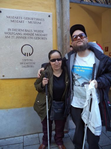 Tony and Tatiana outside the birthplace of famous 18th century composer, Wolfgang Amadeus Mozart, at Getreidegasse 9. The house is now a museum.