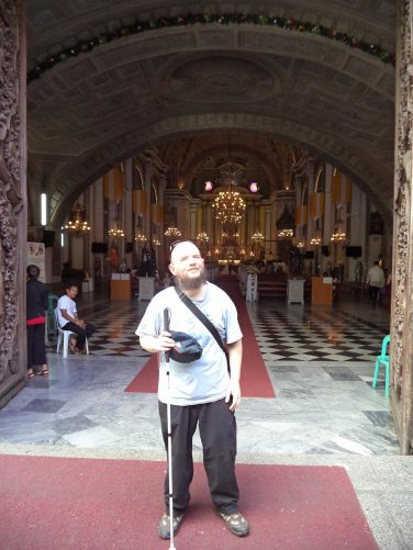 Tony standing in the main doorway of San Agustin Church. This is the oldest surviving church in the Philippines, completed in 1607. It was recognised as a World Heritage Site by UNESCO in 1993.