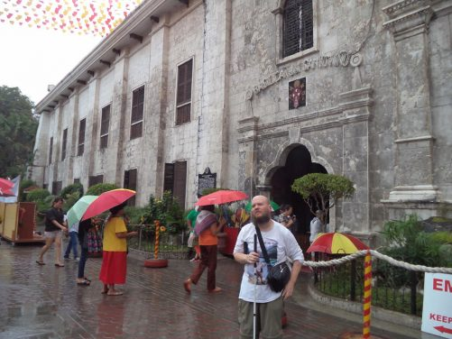 Again Tony outside the entrance to the Basilica of Santo Niño.