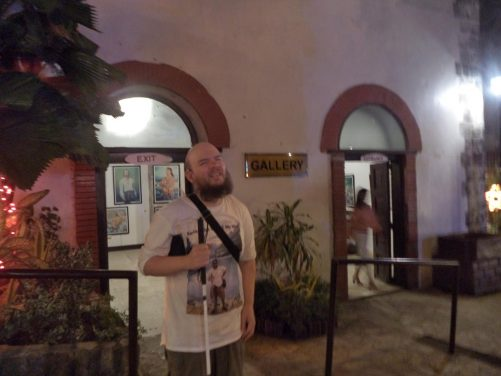 Tony outside the entrance to a museum/gallery at Fort San Pedro (Fuerza de San Pedro).