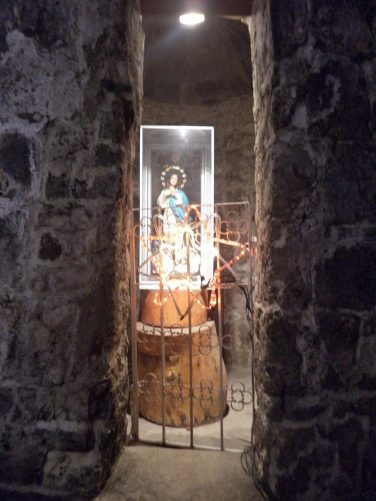 An icon of Jesus displayed inside an alcove at Fort San Pedro.