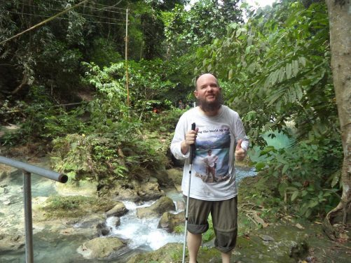 Tony next to the Matutinao River near to Kawasan Falls.