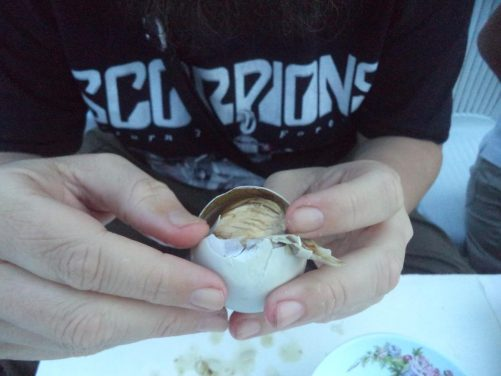 Close-up of Tony holding the balut.