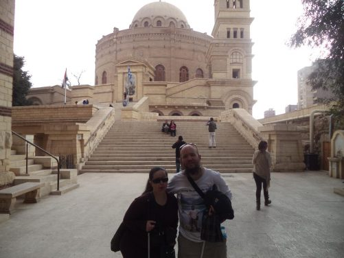 Tony and Tatiana at the foot of steps leading up to the Greek Orthodox Church and Monastery of St George located within the Babylon Fortress. The church dates back to the 10th century (or earlier). The current structure was rebuilt following a fire in 1904 with construction completed in 1909. The church has a central dome with a tower in the north-west corner.