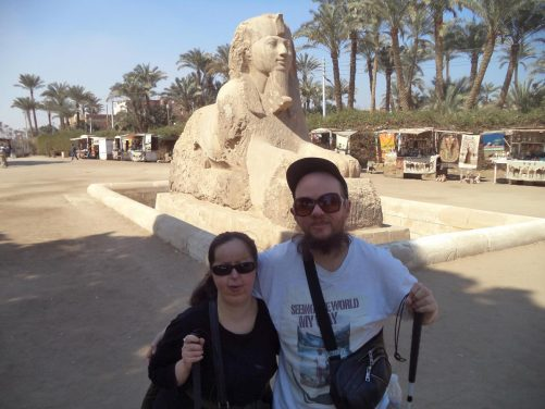 Tony and Tatiana with the Sphinx of Memphis. It is believed the sphinx was carved during the 18th dynasty, between 1700 and 1400 BC, which was during the 18th dynasty. The facial features imply that the Sphinx is honouring either Hatshepsut, Amenhotep II or Amenhotep III. It was discovered in 1912. It is 8 metres in length and 4 metres in height.