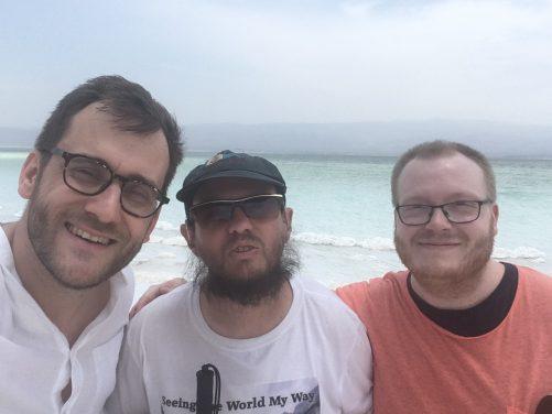 Tony with Ronny and Niklas at Lake Assal.