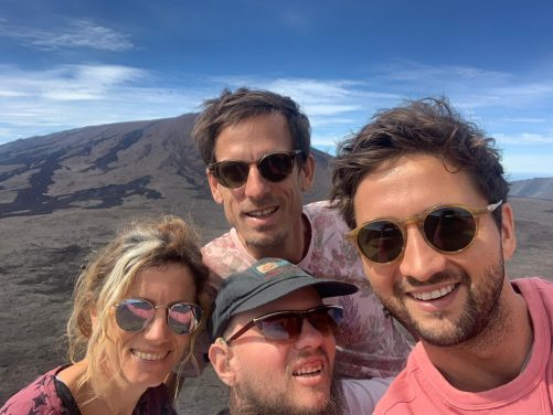 On volcano Piton de la Fournaise, Marie, Jens, Tony and Jourdan, their best friend.