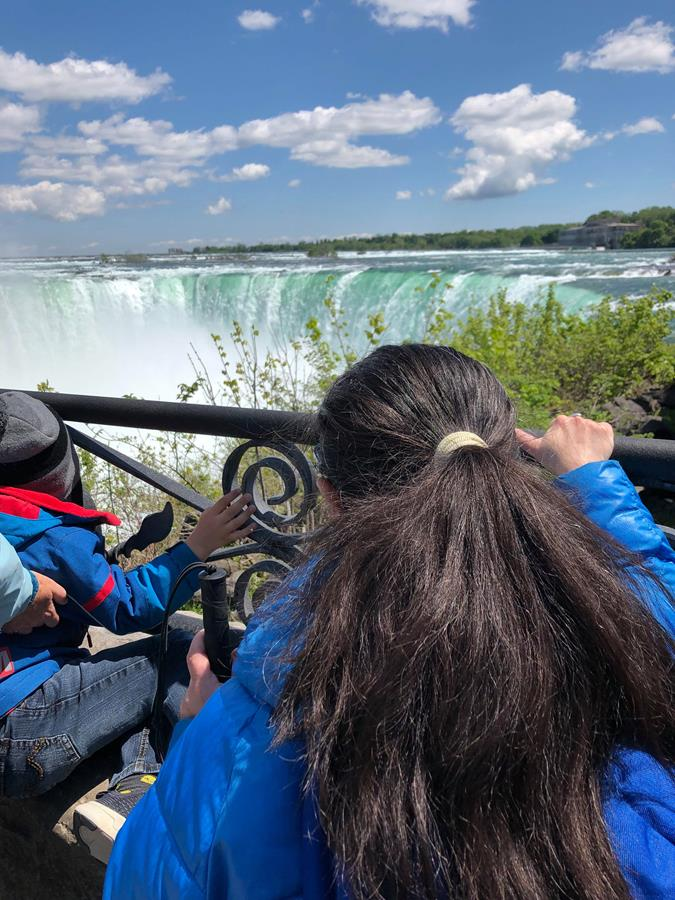 Tatiana at the viewing area overlooking Horseshoe Falls.