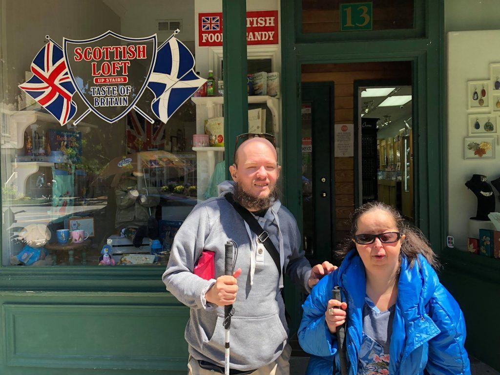 Tony and Tatiana outside the 'British' Shop. Taken at Niagara-on-the-Lake, a small town roughly 15 miles (25 kilometres) from Niagara Falls on the Niagara Peninsula at the point where the Niagara River meets Lake Ontario.