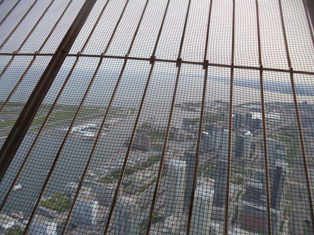 Lake Ontario, one of the five Great Lakes, seen through a metal grill from inside the tower.