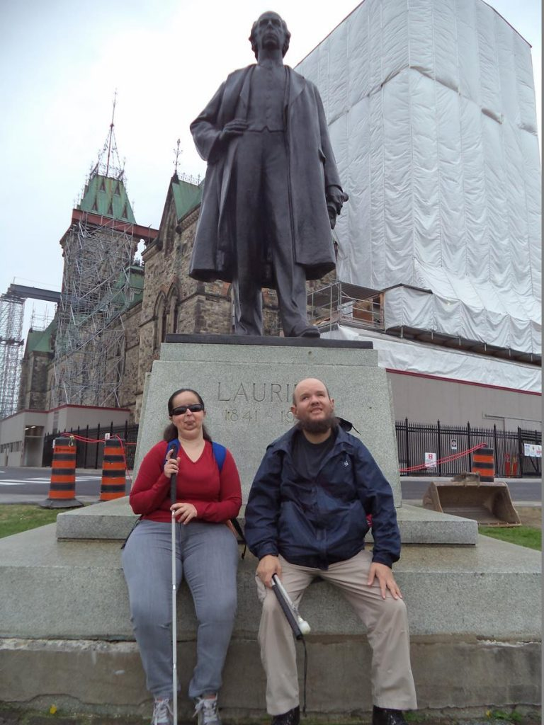 Tatiana and Tony at a bronze statue of Sir Wilfrid Laurier, the seventh prime minister of Canada. He was in office from July 1896 to October 1911.