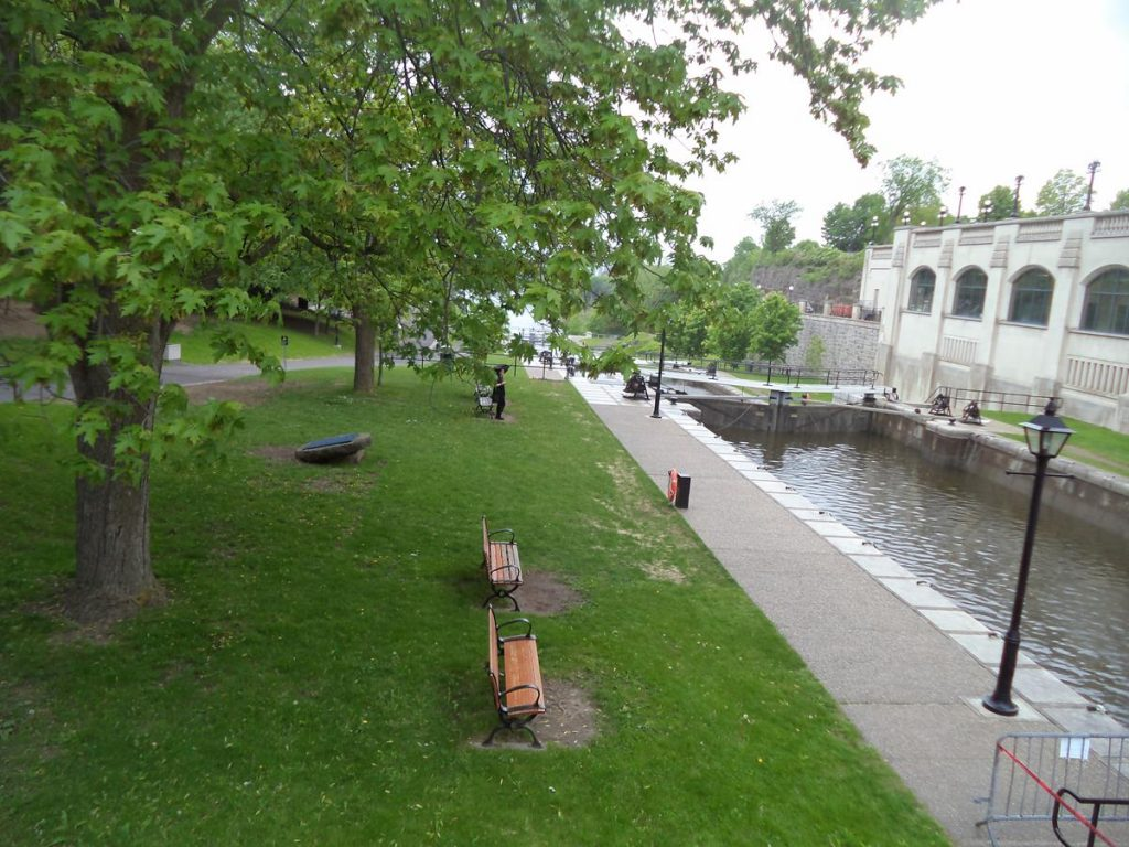 One in a series of locks on the Rideau Canal immediately before it joins the Ottawa River.