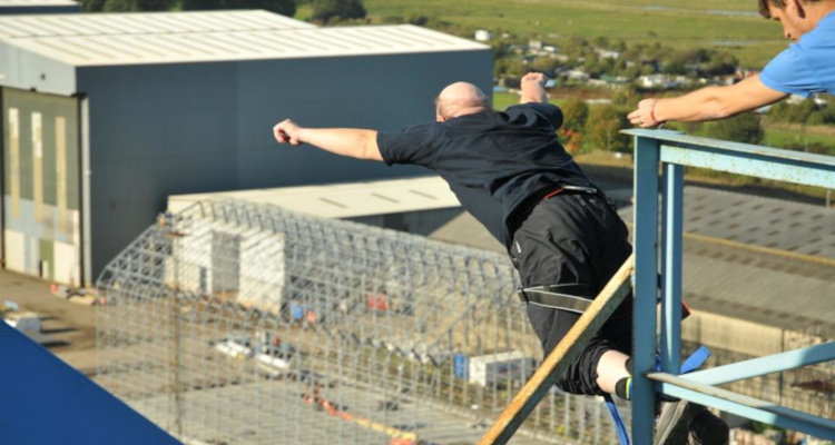 Bungee jump, Transporter Bridge, Middlesbrough, October 2012.