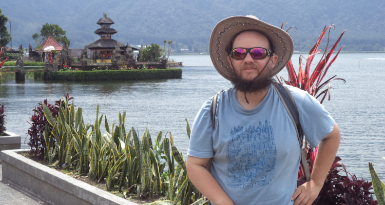 Tony at Ulun Danu Beratan Temple, Lake Bratan, Bali, Indonesia, March 2015.