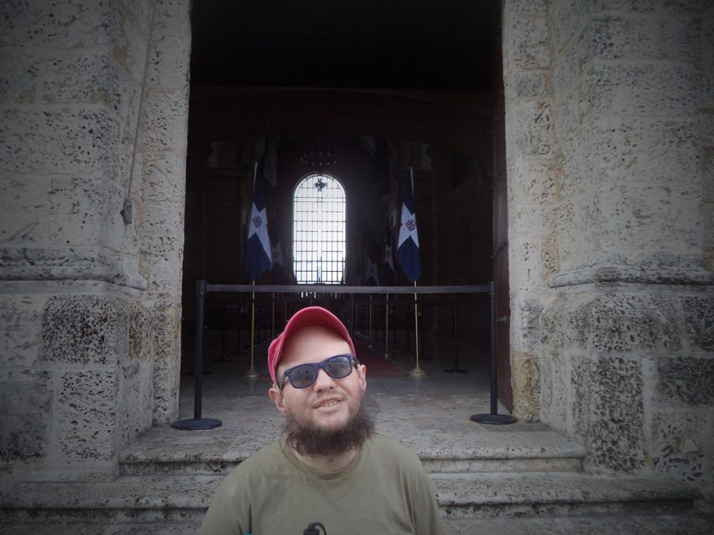 Tony outside the main doorway to the Panteón Nacional. The building was originally a Jesuit church built between 1714 and 1746 in neoclassical renaissance style. Today it is a national symbol of the Dominican Republic and serves as the final resting place for the Republic's most honoured citizens.