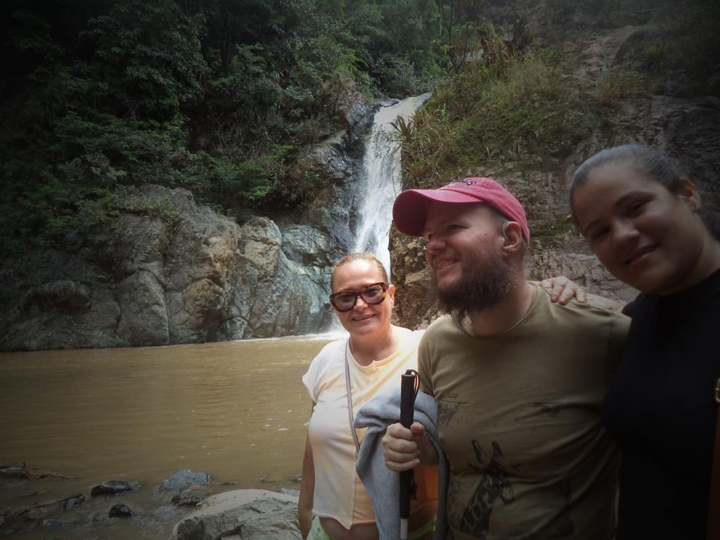 Tony with a man and woman at Baiguate Falls.  The guy is possibly Tony's guide Porfilio.