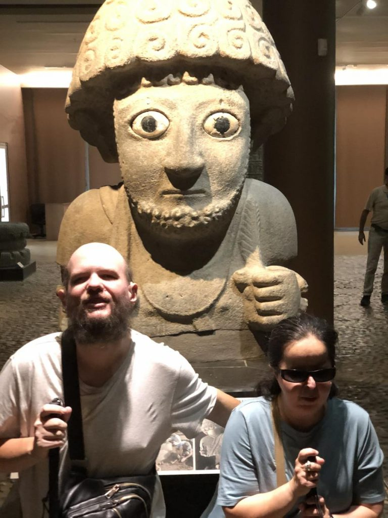 Another view of Tony and Tatiana in front of the King Suppiluliuma statue.