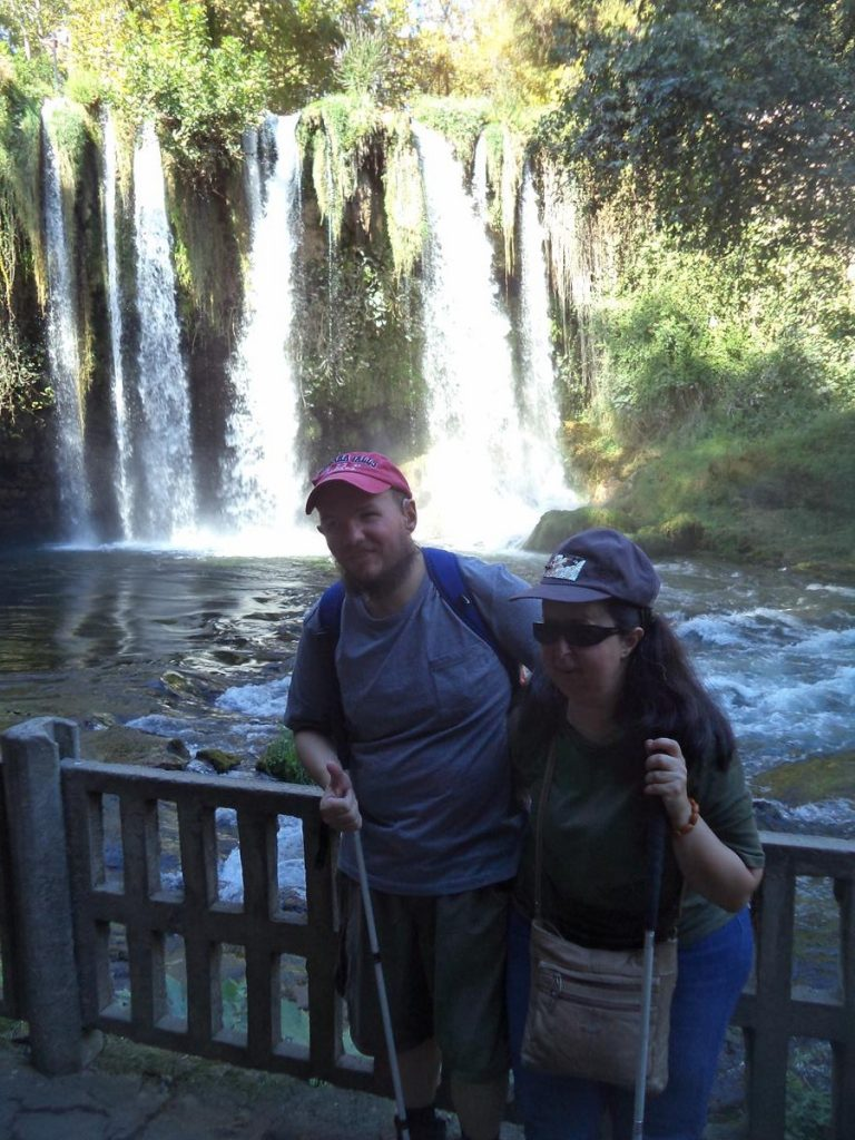 Another view of Tatiana and Tony at the Upper Düden Falls.