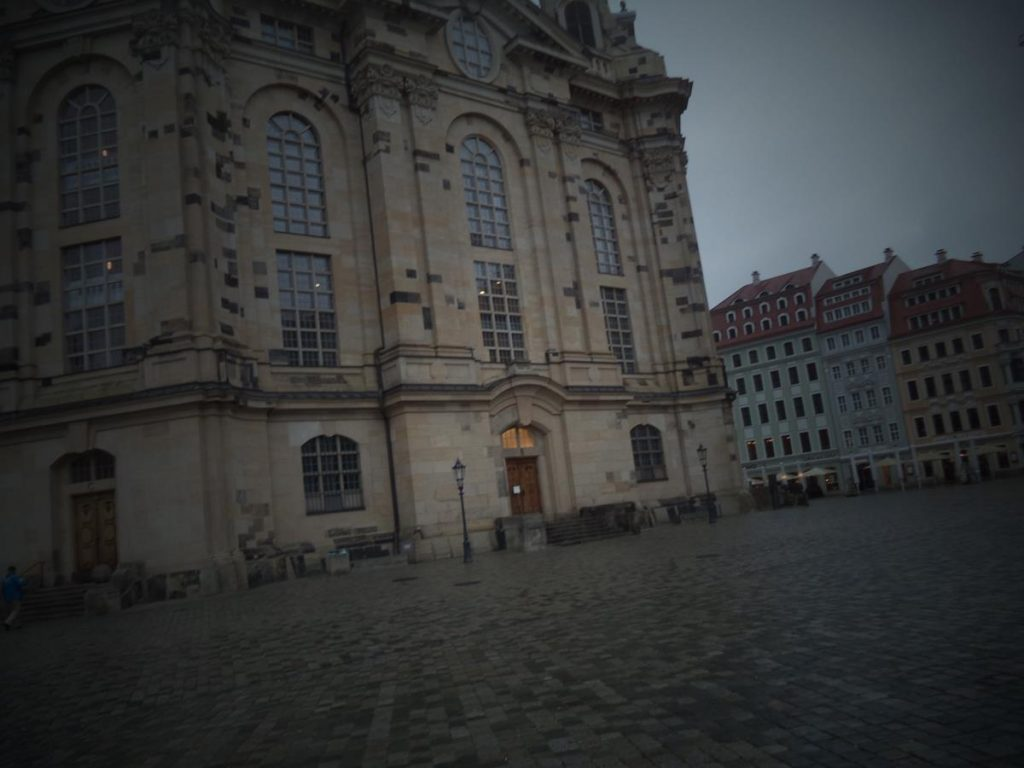 The Baroque front façade of the rebuilt Frauenkirche. Out of view above, the church is topped with a high dome rising to 96 metres (315 ft) in height. It is one of the tallest domes in Europe. The building is considered an outstanding example of Protestant sacred architecture.
