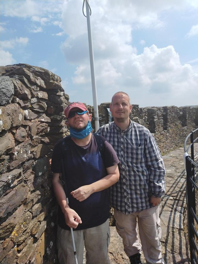 Tony with his friend Will on Totnes Castle's keep.