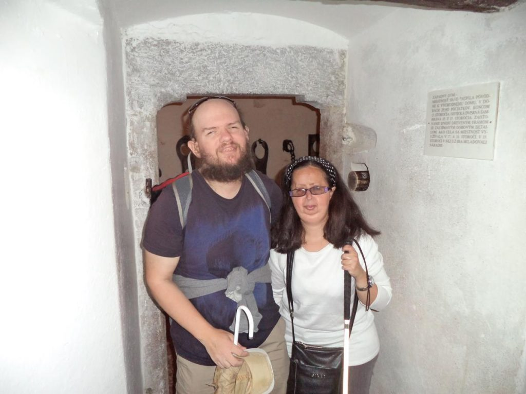 Tony and Tatiana inside one of the prison cells.