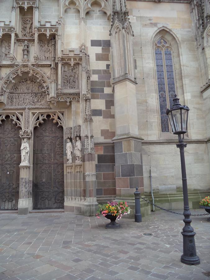 The north doorway of St Elisabeth Cathedral with the relief of the Last Judgement above. This entrance is known as the Golden Gate because it was gilded in the Middle Ages.