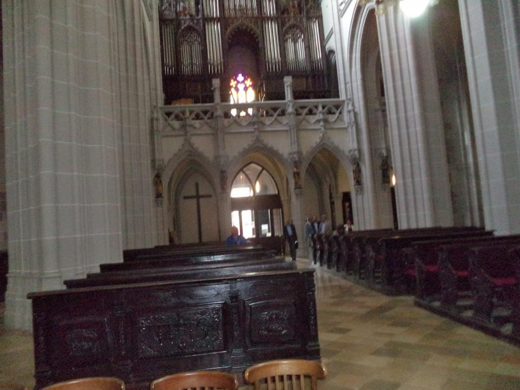 Looking back down the main aisle of St Elisabeth Cathedral towards the main (west) entrance. The pipes of the 19th century organ are above.