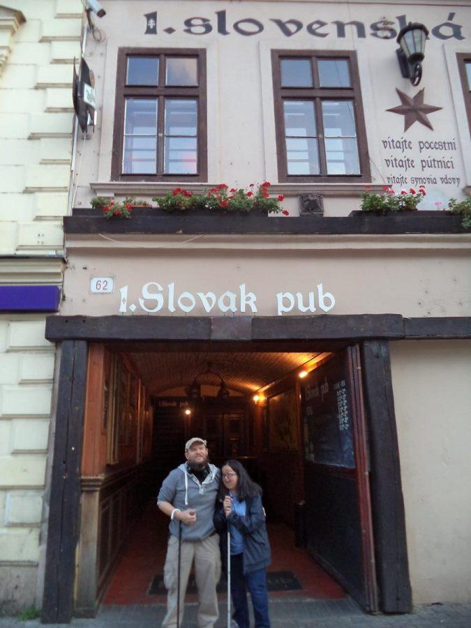 Tony and Tatiana outside the Slovak Pub, an iconic pub-restaurant on Obchodná Street.