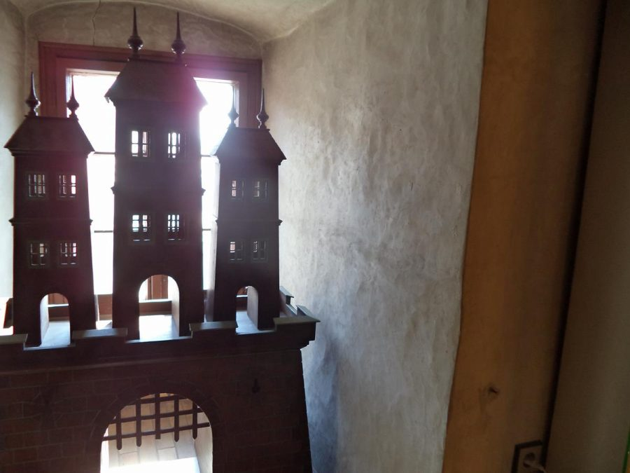 A wooden model of Michael's Gate, displayed in the Museum of Arms, inside St Michael's Tower.