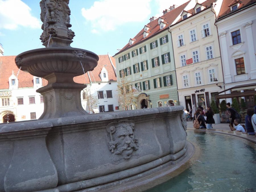 The Roland Fountain in Hlavné námestie (Main Square). A carved male head can be seen on the side of the second pool.