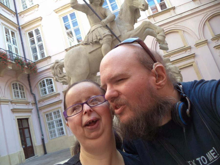 Tatiana and Tony in front of the Fountain of St. George located in the courtyard of the Primate's Palace. This mid-17th century fountain is, apparently, inspired by local legends and depicts St. George on horseback killing a three-headed dragon.