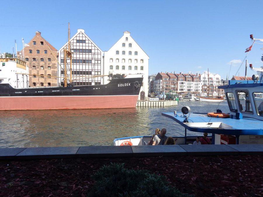 Back in Gdansk with a good view of the SS Soldek and the historic granary buildings behind.