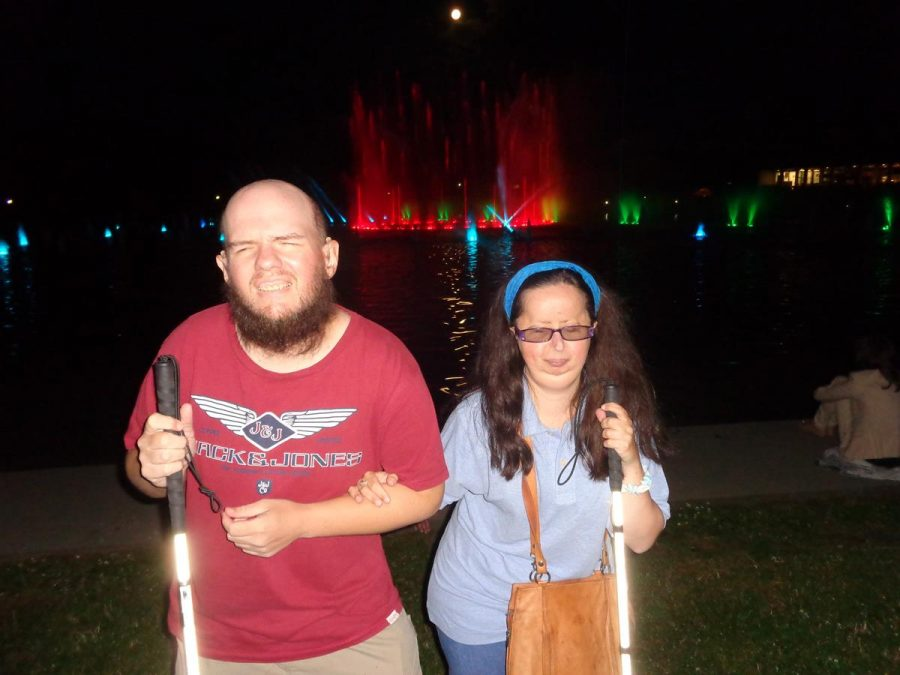 Tony and Tatiana with the animated water show taking place behind.