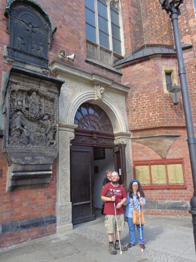 Tony and Tatiana outside an entrance to St Elizabeth Church.