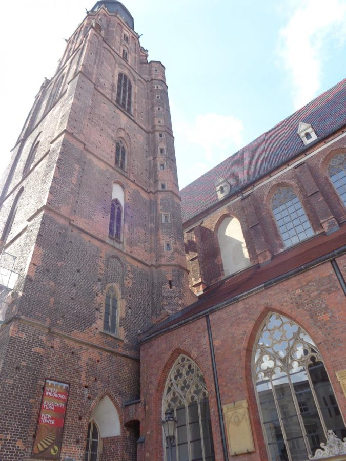 Another view of St Elizabeth Church's 91.5 metre high tower. The tower once had a spire rising to 130 metres.