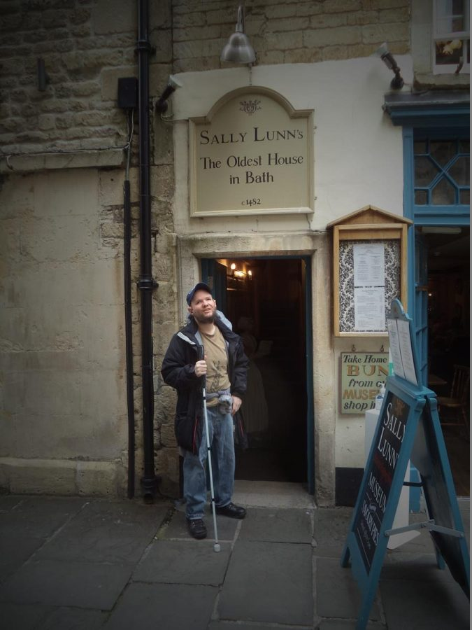 Tony outside Sally Lunn's, a well known cafe in the centre of Bath. The building is one of the oldest surviving houses in the city with the sign outside claiming it dates from circa 1482. It is named after the legendary Sally Lunn. She is said to have been a Huguenot refugee, who arrived in the 1680s, and established a bakery. The cafe is well known for the famous Sally Lunn buns, which are similar to the sweet brioche breads of France. There is also a small kitchen museum inside.