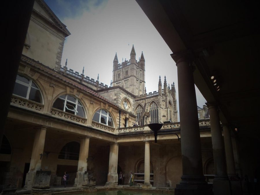 Another view of the Great Bath with the tower of Bath Abbey visible overhead. The tower is 49 metres (161 feet) in height.
